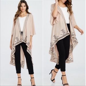 Jackets & Blazers - ❤️ Just Arrived New Taupe Embroidery Kimono Duster